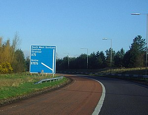 European route E18 - Image: Motorway sign on slip road. geograph.org.uk 1307259