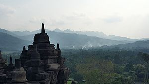 Borobudur - Borobudur Temple is surrounded by mountains nearby