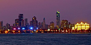 South Mumbai - Night view of South Mumbai from the sea