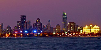Economy of India - Image: Mumbai Skyline at Night