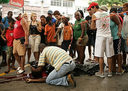 The scene of a murder in Rio de Janeiro. More than 800,000 people were murdered in Brazil between 1980 and 2004. Murder Rio.JPG