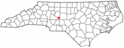 Location of Denton, North Carolina