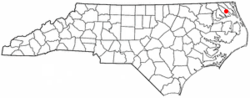 Location in Pasquotank coonties in the state o North Carolina