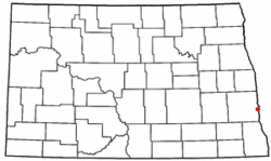 Fargo's location in North Dakota