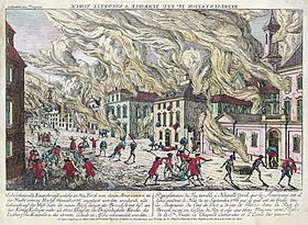 Interprétation de l'incendiepubliée par un artiste contemporain en 1776.