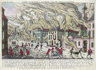 Great Fire of New York (1776) - A contemporaneous artist's interpretation of the fire, published in 1776