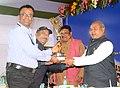 Narendra Singh Tomar presenting the appreciation award for outstanding work in online return filing to Regional Controller of Mines, Bhubaneswar Shri M. Biswas, and Regional Controller of Mines, Hyderabad Shri P.N. Sharma.jpg