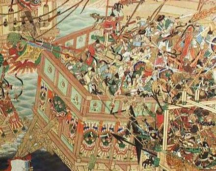『朝鮮戦役海戦図屏風』昭和16年前後/太田天洋(明治17-昭和21)