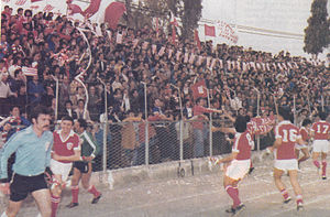 Nea Salamis Famagusta FC - Nea Salamina Famagusta FC's fans and players celebrating, after the winning of the champion of Cypriot Second Division 1979–1980, at GSZ Stadium
