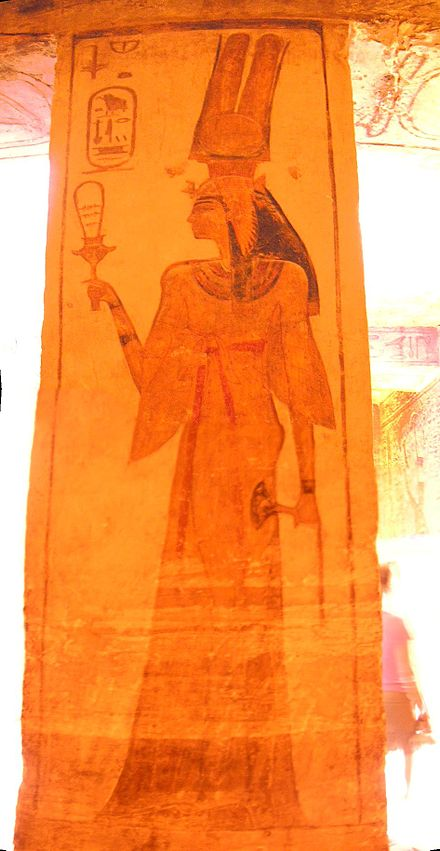 Nefertari, the Great Royal Wife of Ramasses II, from the temple he built to honour her at Abu Simbel, she holds a sistrum and a sacred lotus Nefertari.JPG