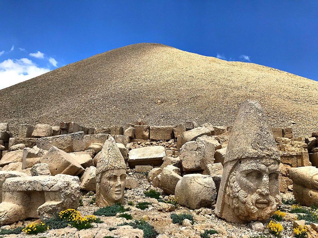 Nemrut mountain and blue sky