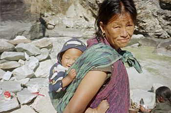 A Nepalese woman and her infant child