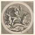 Neptune rising from the sea and bearing a staff, accompanied by two horse-headed sea creatures, reverse copy after a series of engravings by Cherubino Alberti of mythological scenes after Polidoro da Caravaggio MET DP832086.jpg