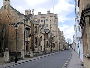 Holywell Street - View from the east end of Holywell Street looking west with New College on the left.