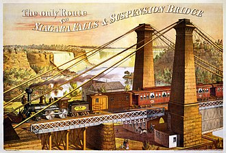 Great Western Railway (Ontario) - Advertisement for Great Western Railway travel via the Niagara Falls Suspension Bridge, c. 1876.