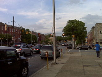 U.S. Route 1 in Maryland - View of US 1 (North Avenue) in Baltimore, looking east at the intersection of Barclay Street