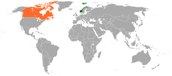 Map indicating locations of Norway and Canada