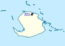 Locator map of Nueva Gerona (in black)within Isla de la Juventud