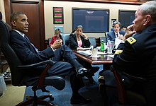 Obama Dempsey Meeting on Iraq Airstrikes August 7.jpg