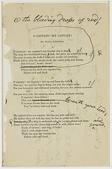 o captain my captain  whitman s notes for a revision of o captain my captain