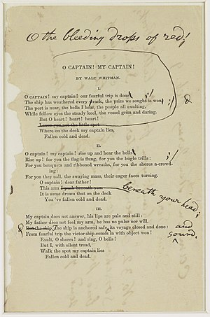 "Whitman's notes for a revision of ""O Capt..."