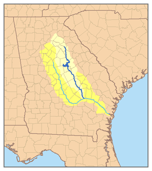 Oconee River - Map of the Altamaha River system with the Oconee highlighted.