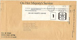 "O.H.M.S. - ""On Her Majesty's Service"" envelope with OHMS economy ""Official Paid"" label from 1978"