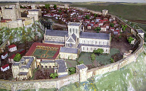 Old Sarum Cathedral - A 1927 model of the former cathedral now displayed in its replacement