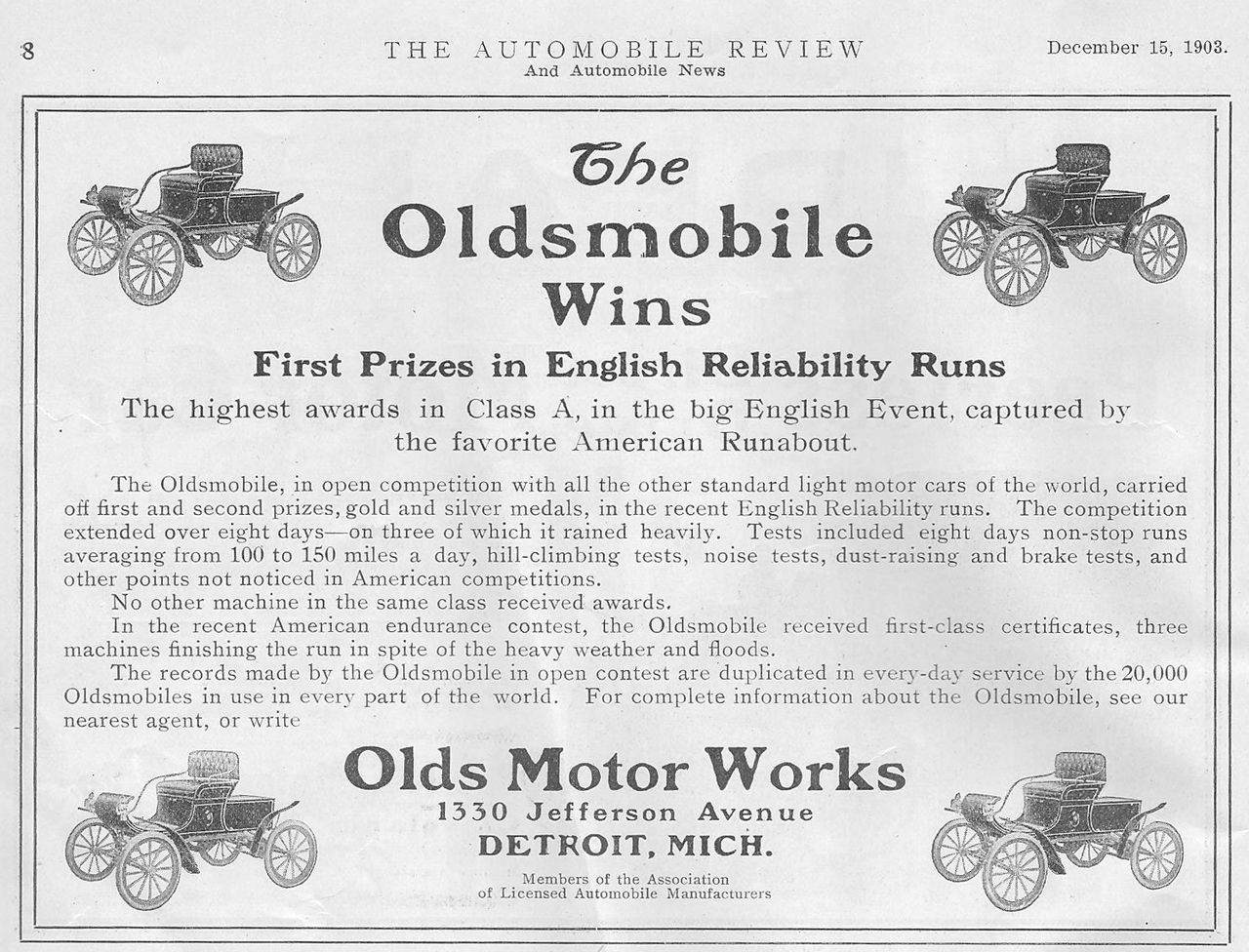 1901 : R. E. Olds Moves His Automobile Factory to Lansing
