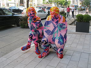 Fiber art - Example of yarn bombing in Montreal, 2009, by fiber artist Olek.