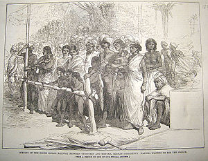 South Indian Railway Company - Image: Opening of the South Indian Railway between Tuticorin and Madura Madras Presidency Natives waiting to see the Prince an engraving, 1876