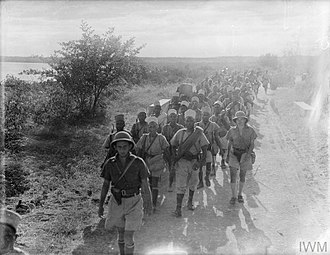 Battle of Madagascar - Captured French troops marching away from their HQ after the British had captured Diego Suarez on 7 May