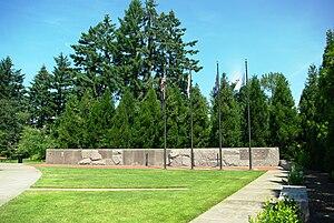 Oregon Korean War Memorial - Image: Oregon Korean War Memorial flags
