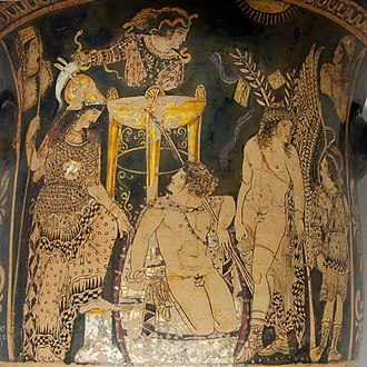 Erinyes - Orestes at Delphi, flanked by Athena and Pylades, among the Erinyes and priestesses of the oracle. Paestan red-figure bell-krater, c. 330 BC.