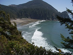 Oregon Coast Trail - The sand beach at Oswald West State Park's Smuggler Cove seen from the Oregon Coast Trail