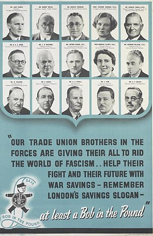 Arthur Deakin - Deakin, third from left middle row, in a World War II patriotic poster
