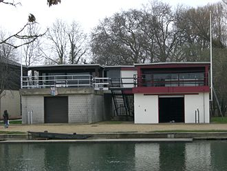 Pembroke College, Oxford - Pembroke College boathouse on the Isis (left, adjoined to St Edmund Hall boathouse)