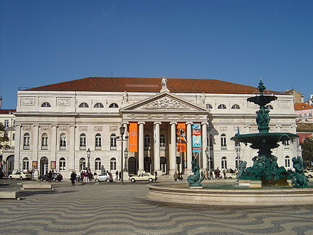 Rossio Square, with Queen Maria II National Theatre in the background
