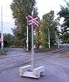 Přejezd v odbočce do smyčky Nádraží Braník, přenosný kříž.jpg