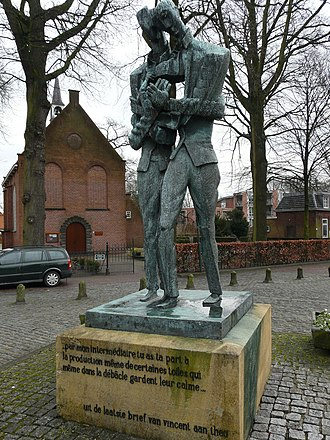 Zundert - Sculpture of Theo and Vincent van Gogh by Ossip Zadkine. The Dutch Reformed church is in the background.
