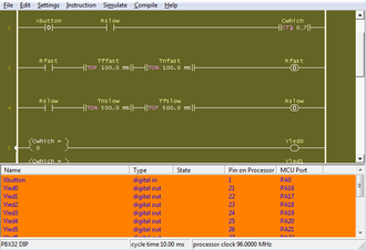 Parallax Propeller - Screen capture of the PICoPLC ladder editor