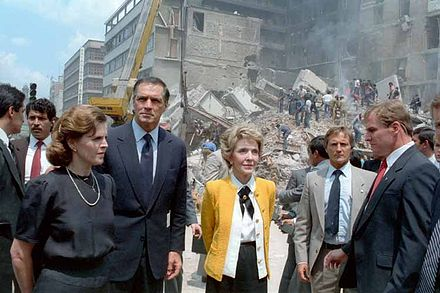 First ladies Paloma Cordero of Mexico (left) and Nancy Reagan of the United States (right) with U.S. Ambassador to Mexico, John Gavin observing the damage done by the earthquake. Paloma Cordero Nancy Reagan Mexico City 1985 earthquake.jpg