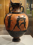 Panathenaic Amphora by the Berlin Painter, inscribed TON ATHENETHEN ATHLON, c. 480-470 BC, earthenware with slip decoration, view 1 - Hood Museum of Art - DSC09142 01.JPG