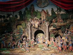 Nativity scene - German paper nativity scene, 1885