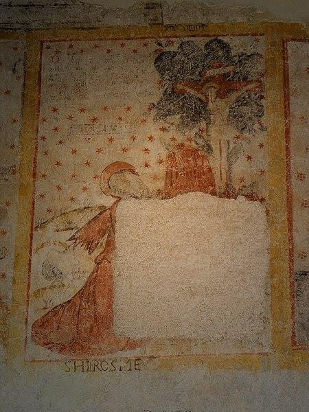 Peinture murale de l'église Saint-Pierre de Parné-sur-Roc (53). Saint-Jérôme.