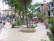 Park of the Journalist in Medellín downtown with a monument to the victims of the Villatina Massacre.