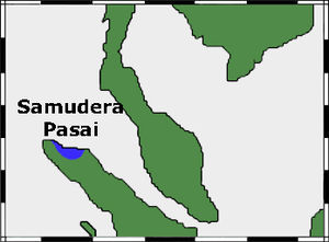 Samudera Pasai Sultanate - Map of Pasai, at today's Lhokseumawe of Sumatra, Aceh province.