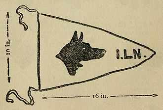 """Scout staff - Baden-Powell's drawing of a Patrol Leader's pennant: """"Each patrol leader has a small white flag on his staff with the head of his patrol animal shown in red cloth stitched on to it on both sides. Thus the 'Wolves' of the 1st London Troop would have the flag shown below""""."""