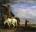 Paulus Potter - Horses tethered at a Cottage Door 37185.jpg