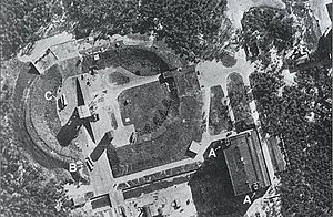 Konrad Dannenberg - An aerial view of Test Stand VII at Heeresversuchsanstalt Peenemünde (Peenemünde Army Research Center), where Konrad Dannenberg assisted in designing and testing the first successful V2 rockets.